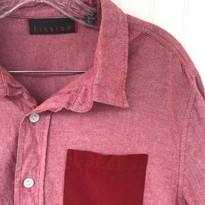 FISSION Red Long Sleeve Cotton Shirt L